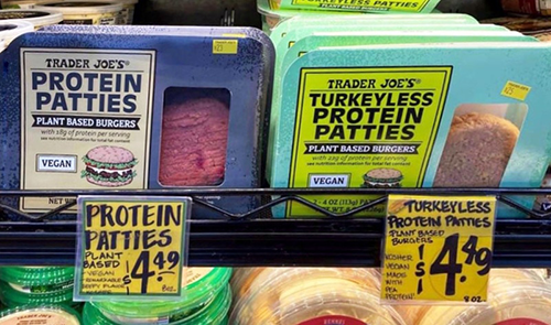 Trader Joe's recently launched its latest plant-based addition to its product lineup, imitating a turkey burger rather than beef (Photo Credit: VegNews)