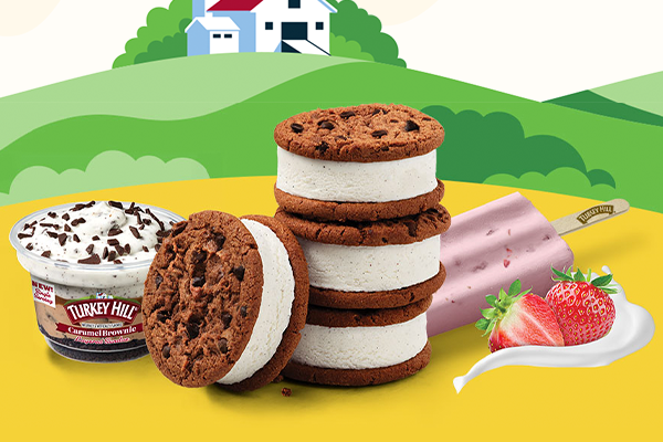 """Turkey Hill has launched its """"Freeze the Moment"""" campaign to spotlight its new Ice Cream Cookie Sandwiches, Fruit & Cream Bars, and Layered Sundaes"""