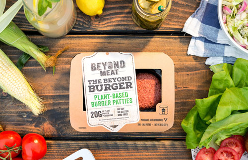 Beyond Meat's signature Beyond Burger plant-based hamburger patty