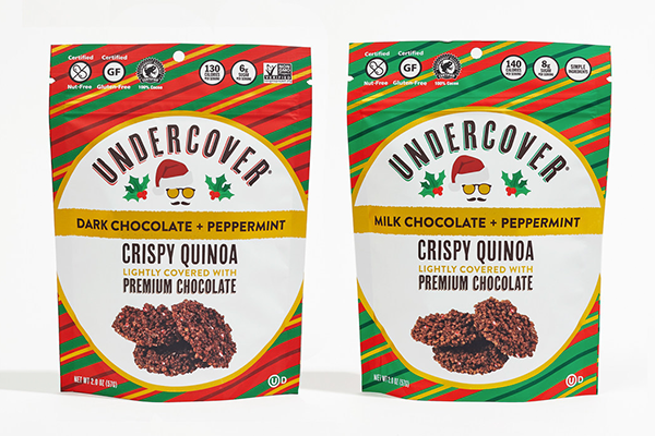 Undercover Snacks is taking advantage of the highly promotable holiday season with the launch of two brand new limited-edition seasonal flavors: Dark Chocolate + Peppermint and Milk Chocolate + Peppermint