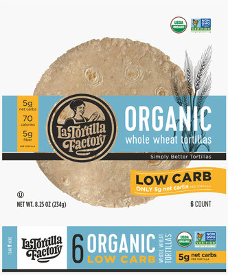 This exciting new organic tortilla is free from GMOs, made with whole wheat flour, 70 calories, and is only five net carbs per tortilla
