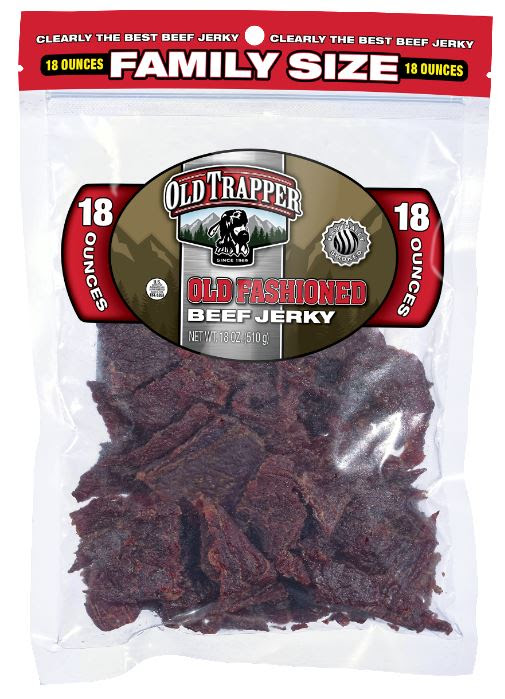 Old Trapper is shaking up the meat snack sector with its new larger format 18-ounce family-sized bags of its authentic beef jerky