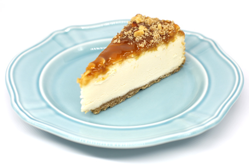 Influenced by flavors of the Middle East, the cheesecake is made with mascarpone cheese, cream cheese, real honey, and a cardamom-spiced graham cracker crust
