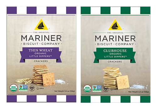 Mariner Organic Little Dippers crackers come in flavors of Thin Wheat and Clubhouse