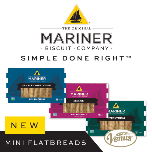 On top of unrivaled flavor and quality, Venus Wafer's Mariner Mini Flatbreads have received Non-GMO Project, Vegan, and Kosher Approved certifications, making them all the more appealing to shoppers