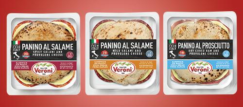 The company's new line features three flavors—a Panino Al Prosciutto, a Panino Al Salame, and Panino Al Salame