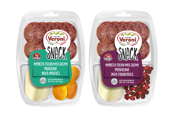 Veroni's new snacking line includes high quality, 100 percent imported-from-Italy cold cuts combined with cheese and Italian breadsticks or dried fruits