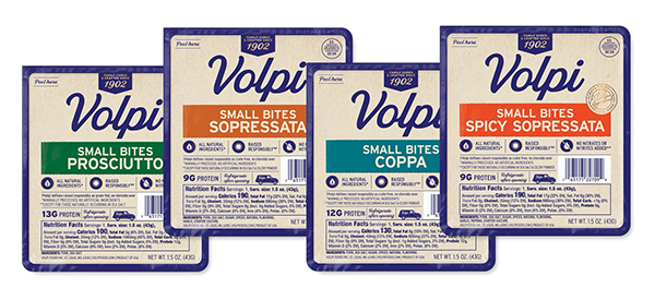 In time for the holidays, Volpi Foods launched Small Bites to blend single-serve with holiday hosting panache