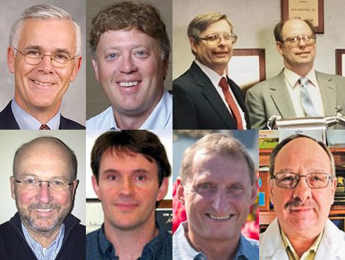 Clockwise from top left: Dave Fuhrmann, Lou Gentine, Joe and John Koss, Terry Lensmire, Dale Baumgartner, Dr. John Lucey, and Ron Kremer