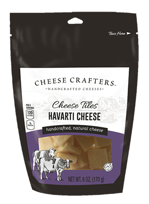 Cheese Tiles snacks are available in 6 oz stand-up, peggable, grab-and-go pouches with a resealable zip