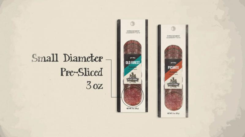 The small-diameter, pre-sliced, 3 ounce format of Black Kassel Salami Snackers make them ideal as a personal or shared snack