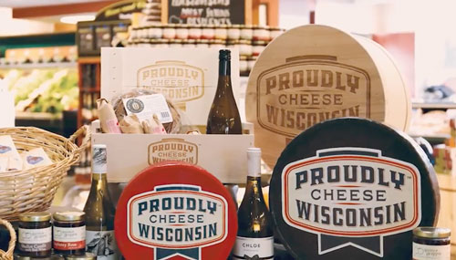 Dairy Farmers of Wisconsin products bearing the new logo that brings a pop of color and showcases the award-winning nature of Wisconsin cheeses